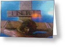 Jesus On The Cross Mosaic Greeting Card