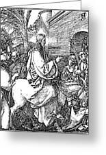 Jesus On The Donkey Palm Sunday Etching Greeting Card