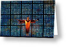 Jesus Sculpture And Blue Glass Background Greeting Card