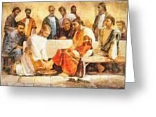 Jesus Washing Apostle's Feet Greeting Card