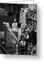 Jesus With Arms Wide Open Religious Figurines In A Shop Window In Toronto Greeting Card
