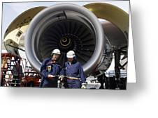 Jet Engine And Air Mechanics Greeting Card