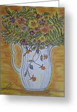 Jewel Tea Pitcher With Marigolds Greeting Card