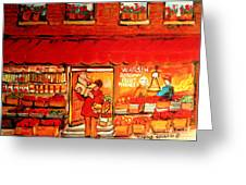 Jewish Culture In Montreal Paintings Of Warshaw's Fruit Store On St.lawrence Street Scene Art  Greeting Card