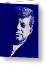 Jfk - Blue Greeting Card