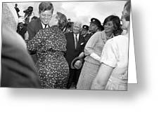 Jfk Meets His Cousin Mary Ryan In Ireland Greeting Card