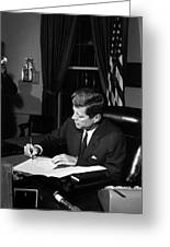 Jfk Signing The Cuba Quarantine Greeting Card by War Is Hell Store