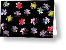 Jigsaw Puzzle Flag Pieces Greeting Card