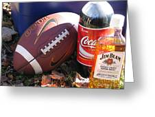 Jim Beam Coke And Football Greeting Card