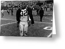 Jim Brown With Coat Over Shoulder Pads Greeting Card by Retro Images Archive