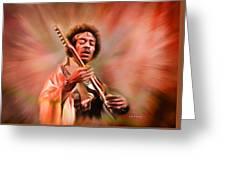 Jimi Hendrix Electrifying Guitar Play Greeting Card