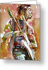 Jimi Hendrix Playing The Guitar Portrait.3 Greeting Card