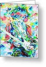 Jimi Hendrix Playing The Guitar.2 -watercolor Portrait Greeting Card