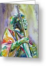 Jimi Hendrix Playing The Guitar.5 -watercolor Portrait Greeting Card
