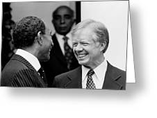 Jimmy Carter And Anwar Sadat 1980 Greeting Card