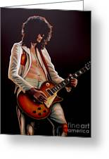 Jimmy Page In Led Zeppelin Painting Greeting Card