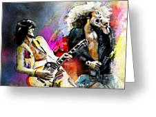 Jimmy Page And Robert Plant Led Zeppelin Greeting Card by Miki De Goodaboom