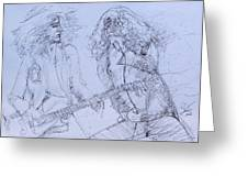 Jimmy Page And Robert Plant Live Concert-pen Portrait Greeting Card