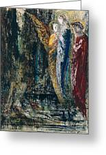 Job And The Angels Greeting Card by Gustave Moreau