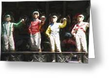 Jockeys In A Row Greeting Card