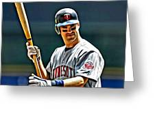 Joe Mauer Painting Greeting Card