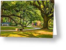 Jogging In City Park Greeting Card