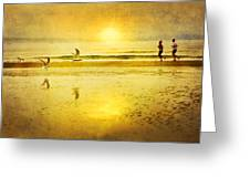 Jogging On Beach With Gulls Greeting Card