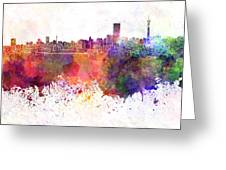 Johannesburg Skyline In Watercolor Background Greeting Card