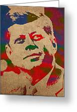 John F Kennedy Jfk Watercolor Portrait On Worn Distressed Canvas Greeting Card