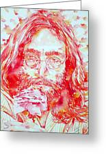 John Lennon With Rose Greeting Card