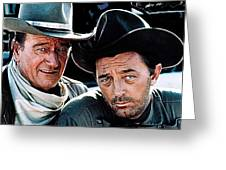 John Wayne And Robert Mitchum El Dorado 1967 Publicity Photo Old Tucson Arizona 1967-2012 Greeting Card