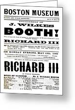 John Wilkes Booth Playbill Greeting Card