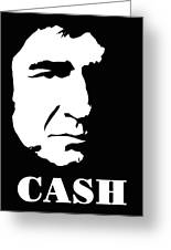 Johnny Cash Black And White Pop Art Greeting Card