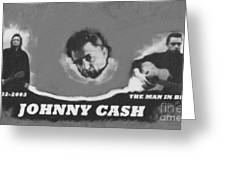 Johnny Cash Greeting Card by David Millenheft