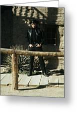 Johnny Cash Gunfighter Hitching Post Old Tucson Arizona 1971 Greeting Card