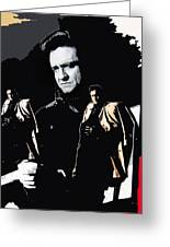 Johnny Cash Multiples  Trench Coat Sitting Collage 1971-2008 Greeting Card