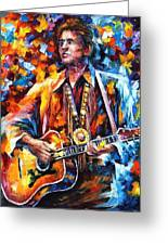 Johnny Cash - Palette Knife Oil Painting On Canvas By Leonid Afremov Greeting Card