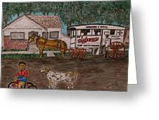 Johnsons Milk Wagon Pulled By A Horse  Greeting Card