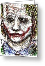 Joker - Interrogation Greeting Card by Rachel Scott