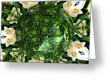Jonquil Kaleidoscope Under Polyhedron Glass Greeting Card