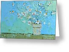 Joyful Daisies, Flowers, Modern Impressionistic Art Palette Knife Oil Painting Greeting Card