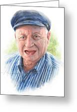 Joyful Grandfather Watercolor Portrait  Greeting Card