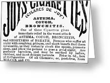 Joys Cigarettes, 1884 Greeting Card