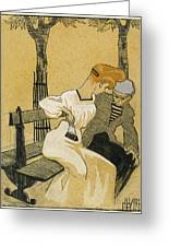 Juan Gris, Man And Woman On Bench, Spanish Greeting Card