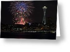 July 4th Fireworks In Seattle Greeting Card by Yoshiki Nakamura