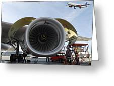 Jumbo Jet Engine And Aerospace Greeting Card