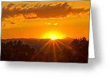 Jump Off Rock Sunset Flare Greeting Card