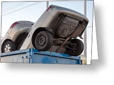 Junk Cars In Dumpster Cash For Clunkers Greeting Card