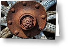 Junk Yard Wheel Hub And Wooden Spokes Greeting Card