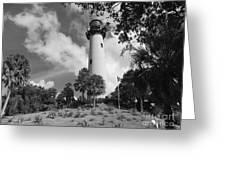 Jupiter Inler Lighthouse In Black And White Greeting Card